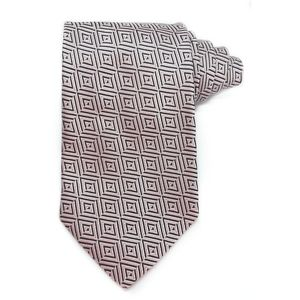 BURBERRY LONDON Silk Tie Pink Geo Pattern -0028